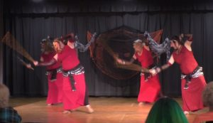 New cane dance at the Halloween Hafla 2016. Image from video capture: Shahrazad Ensemble